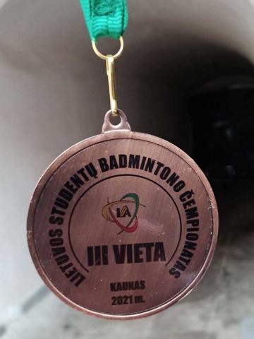 Lietuvos studentų badmintono čempionatas 2021 - 3 vietos medalis