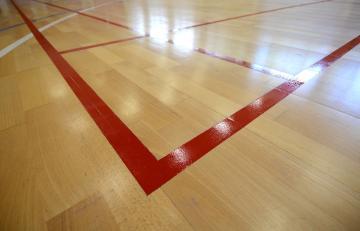 Badmintono linijos sporto salėje